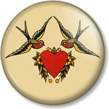 "Sailor Jerry Design 1"" 25mm Pin Button Badge Swallow Heart Tattoo Rockabilly Emo"