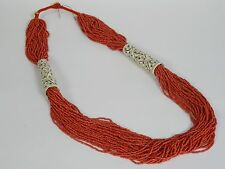 "STUNNING MULTI STRAND SEED BEAD ITALIAN SARDINIA RED CORAL NECKLACE 34"" ~ 215 g"