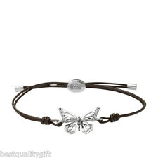 NEW-FOSSIL SILVER TONE BUTTERFLY CRYSTAL+BROWN LEATHER BRACELET-JA5882040