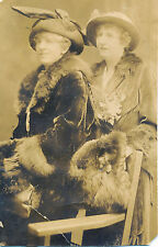 2 Fancy Women, Fur Coats, Hats, Corsages, Atlantic City, NJ Real Photo RPPC