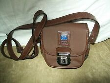 VINTAGE PIERO GUIDI LINEABOLD BROWN CROSSBODY SHOULDER BAG W LOCK MICROFIBER