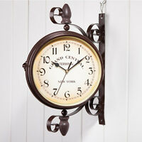 Rotating Double Side Wall Clock Outdoor Garden Station Mounted With Bracket 9066