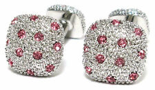 Mens Pink Crystal Silver Studded Formal Fun Cuff Wedding Groom Cufflinks