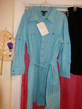 DIALOGUE Shirt Dress Light Blue & White Mix Long Sleeve Button Front  P1X NEW