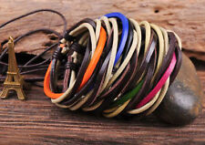 5PC S539 Classic Surfer Leather Hemp Braided Bracelet Wristband Cuff Multi-Color