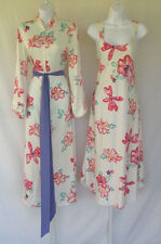 VINTAGE 1980s 90s NATORI NIGHTGOWN & ROBE CREAM FLORAL POLY SIZE XS BELT