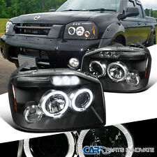 For 2001-2004 Nissan Frontier Black Clear Halo LED Projector Headlights Lamps