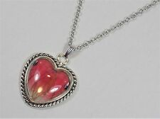 Pink Glasswing Butterfly Wing Heart Pendant Necklace Silver Finish Jewelry
