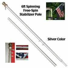 6ft Aluminum Spinning Tangle Free Stabilizer Flag Pole Silver Gold Ball