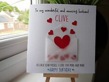Handmade Personalised Birthday Anniversary Valentine's Day Husband Wife Card