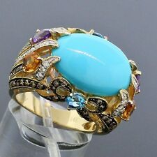 Carlo Viani LeVian 14K Gold Turquoise Dreams MultiStone Diamond Ring Size 7