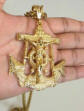 MENS 14K YELLOW GOLD FILLED LARGE ANCHOR CROSS JESUS PENDANT