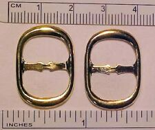1:2, 1:3, 1:4 Play Scale OVAL DOLL BUCKLES for Shoes, Belts, Ponies GOLD PAIR