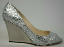 Jimmy Choo Baxen Silver Glitter Peep Toe Wedge Heel Pumps Shoes Size 37 NWB!!