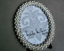 Nicole Miller Metal Picture Frame OVAL SILVER CRYSTALS PEARLS 4X6 PHOTO NEW
