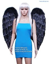 FashionWings (TM) XL Wingspan Black Costume Feather Angel Wings & Halo Cosplay