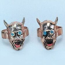 (72) Devil Head Kiddie Rings Adjustable Halloween Child Devil Skull Trick Treat