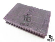 PELGIO Genuine Crocodile Skin Leather Business Credit Card Holder Wallet Purple
