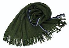 NEU!!! XXL Strickschal aus 100% Merinowolle mit Fransen schwarz grün