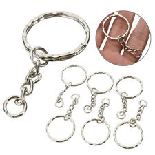 10Pcs Keyring Blanks 55mm Silver Keychain Key Fob Split Rings 4 Link Chain