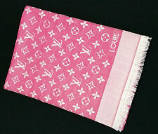 RARE Authentic LOUIS VUITTON Monogram LV Denim Pink Silk Wool Shawl Scarf M74896