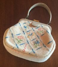 Vintage Needlepoint Petit Point Purse or Handbag Floral Pattern 1961