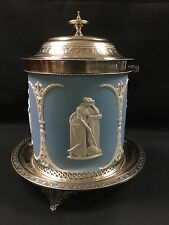 Tableware - Wedgwood Blue Jasperware Biscuit Barrel