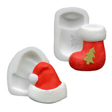 Silicone Moulds - Set Of Two Xmas - Sock & Hat - Food Safe