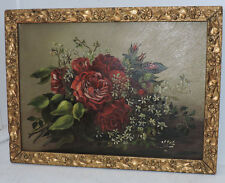 Antique Victorian RED ROSES & White Flowers Oil Painting AESTHETIC Frame c1880s
