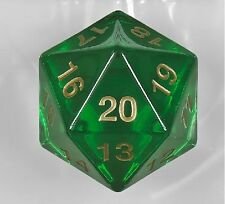 1x 55MM Transparent Green w/Gold D20 Spin Down Die Magic MTG D&D RPG