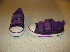 CONVERSE ALL STAR Girls Baby Toddler Velcro Shoes Size 1 L@@K !!! PURPLE WHITE