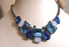 "NEW Sapphire Blue Green Opal Crystal Rhinestone Sorrelli Necklace 16-20"""