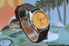 Vintage Automatic Seiko 5 Men's watch Gold Dial Day Date