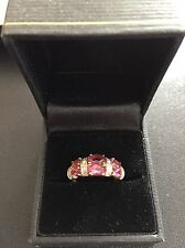 ESTATE - STUNNING 14K YELLOW GOLD PINK TOURMALINE and DIAMOND RING - SIZE 7 #22