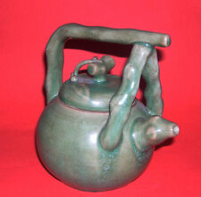 Art Pottery - Vintage Attractive Chinese Teapot - Bamboo and Cherries Design.