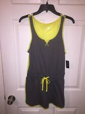 City Streets S Ladies Athletic ROMPER Mesh Back Drawstring NWT GRAY & YELLOW