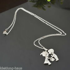 Chic 18k White Gold Plated Couple Boy &Girl Kiss Pendant Necklace Gift