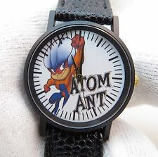 ATOM ANT, Retro Dial, MEN'S/Kid's CHARACTER WATCH,Black Leather Band, 998 L@@K!!