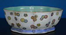 FINE LARGE ANTIQUE CHINESE FAMILLE ROSE PORCELAIN BOWL MARKED QIANLONG S8899