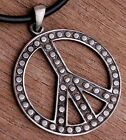STEAMPUNK BIG DOTS LOVE PEACE SIGN 70's Disco Hippie Pewter Pendant