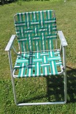 Vtg RETRO 1970s Teal and White  Webbed Aluminum Folding Lawn CHAIR