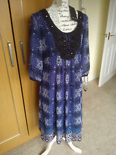 BNWT M&S PER UNA BLACK BLUE ANIMAL PRINT PARTY DRESS LONG TUNIC TOP SIZE 12