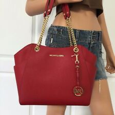 NWT Michael Kors Saffiano Leather Travel Large Shoulder Handbag Bag Purse Red
