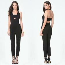 BEBE BLACK BANDEAU HALTER ROMPER JUMPSUIT NEW NWT $119 SMALL S 6