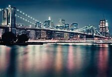 NEON BROOKLYN BRIDGE Photo Wallpaper Wall Mural NEW YORK CITY - 368x254cm