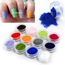 12 Color Velvet Flocking Powder Nail Art Decoration Acrylic Polish Tips Manicure