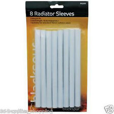 8 x 15 mm Radiatore Tubo maniche Bianco Senza VERNICIATURA EASY FIT copre Snap On Cover