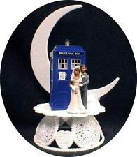 African-American Bride & Groom Wedding Cake Topper w/ DR WHO Doctor TARDIS black