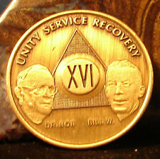 Alcoholics Anonymous AA Founders 16  Year Bronze Medallion Coin  Chip Token Wend