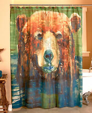Huge Bear Shower Curtain Evergreen Northwoods Woodland Lodge Logs Cabin Decor